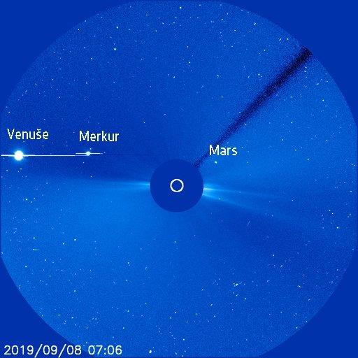 Planety v koronografu SOHO LASCO C3 8. 9. 2019 Autor: SOHO/ESA/NASA