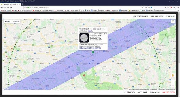 Pás viditelnosti přechodu přeletu ISS přes Měsíc 15. září 2019 na Pardubicku. Autor: Transit-finder.com