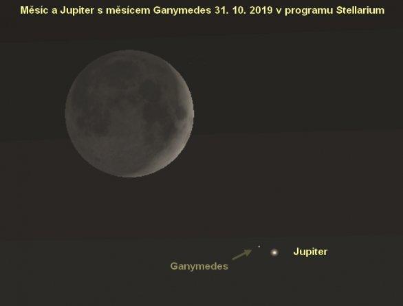 Měsíc a Jupiter 31. 10. 2019 (Stellarium)