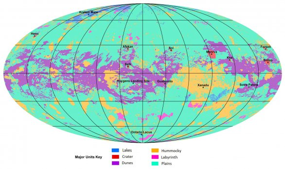 Geologická mapa Titanu z radarových a infračervených dat sondy Cassini Autor: NASA/JPL-Caltech/ASU