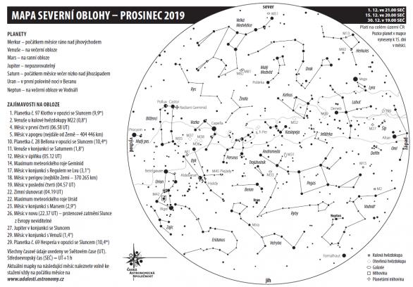 Mapka oblohy na prosinec 2019 Autor: Aleš Majer