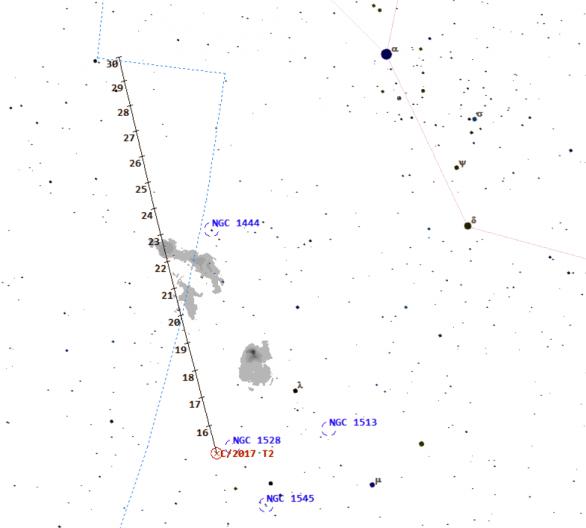 Mapa k vyhledání komety C/2017 T2 (Pan-STARRS) na konci roku 2019. Nejjasnější hvězda je alfa Perseii, Mirfak.