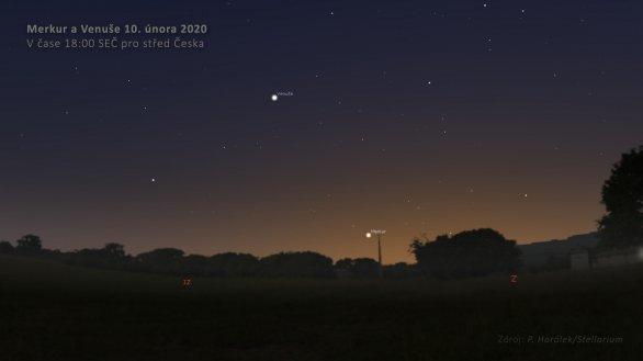 Merkur a Venuše na večerní obloze 10. února 2020. Autor: Petr Horálek/Stellarium.