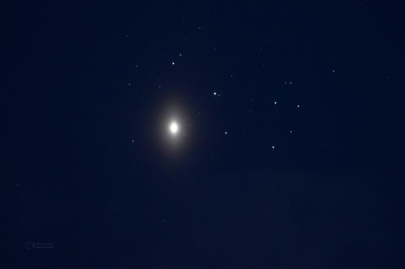 Planeta Venuše v Plejádách v roce 2012. Velice podobný pohled se nabídne 3. dubna 2020. Autor: Petr Horálek.