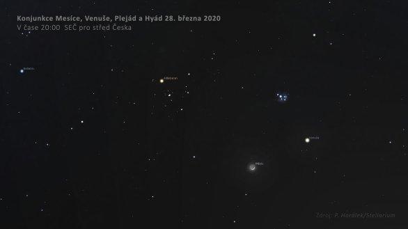 Konjunkce Venuše, Měsíce, Plejád a Hyád 28. března 2020. Autor: Stellarium.