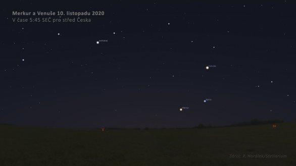 Venuše, Merkur a Spica 10. listopadu 2020 na ranní obloze. Autor: Stellarium.