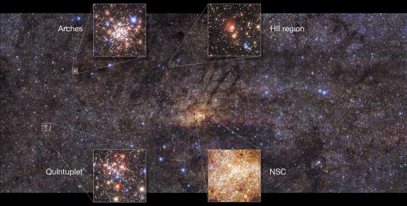 Střed Galaxie na snímku ESO/VLT + HAWK-I Autor: ESO/Nogueras-Lara et al.