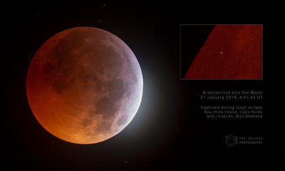 Zásah Měsíce při jeho zatmění 21. ledna 2019 malým asteroidem. Tohoto obrázku si Petr Horálek zatím považuje nejvíce. Autor: Petr Horálek.