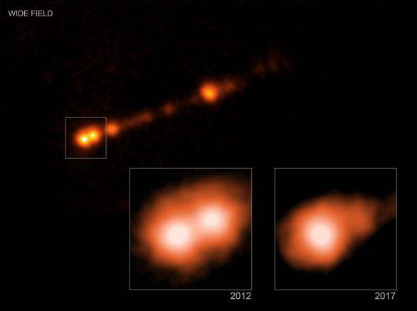 Zjasnění rentgenového záření ve výtrysku galaxie M87