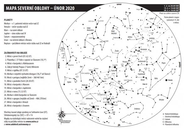 Mapa oblohy s úkazy na únor 2020 Autor: Aleš Majer