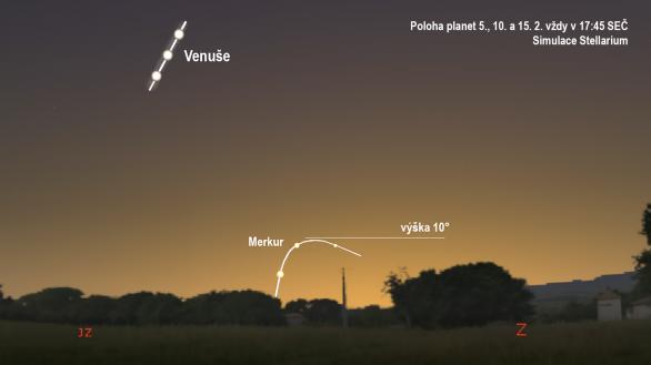 Merkur a Venuše v únoru 2020 (simulace podle Stellaria)