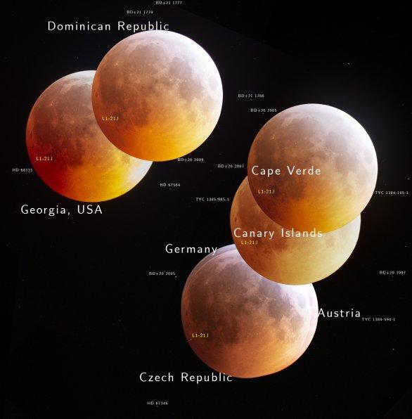 Astronomický snímek dne NASA 5. února 2020 - Perspektivy měsíčního zatmění (s popiskami). Autor: F. Pichardo, G. Hogan, P. Horálek, F. Hemmerich, S. Schraebler, L. Hašpl, R. Eder, M. Tangmatitham.