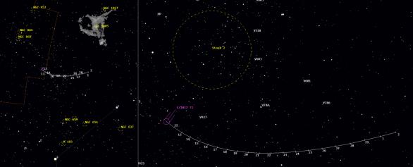 Poloha komety C/2017 T2 (PanSTARRS) v únoru 2020 podle Guide 9.