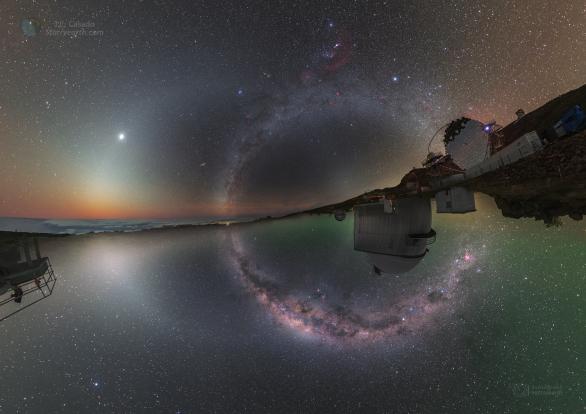 Kruhy nebeských pásů z obou zemských polokoulí. Autor: Petr Horálek/ESO, Juan Carlos Casado/IAC/TWAN