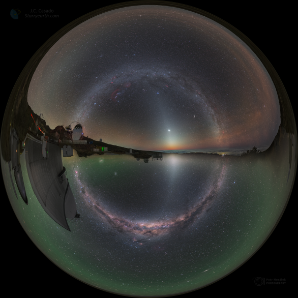 Kruh Mléčné dráhy ze dvou polokoulí. Autor: Petr Horálek/ESO, Juan Carlos Casado/IAC/TWAN