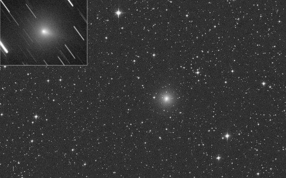 Kometa C/2019 Y4 (ATLAS) s prvním náznakem ohonu na fotografii z 11. března 2020. Autor: Michael Jäger a Gianluca Masi