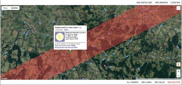 Detailní informace pro zvolenou lokalitu pozorování na portálu ISS Transit Finder. Autor: ISS Transit Finder.