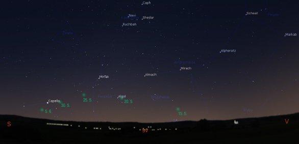 Mapka zobrazující viditelnost komety C/2020 F8 (SWAN) v druhé polovině května a začátkem června 2020. Kometa bude pozorovatelná nízko nad obzorem. Autor: Stellarium; úprava Martin Mašek