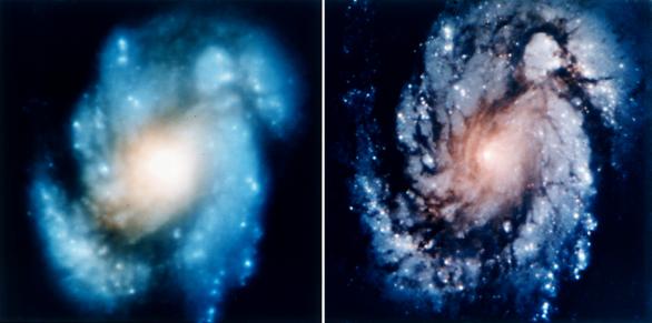 Slavná dvojice snímků galaxie M100 před opravou a po ní v roce 1993. Dnes už snímá dalekohled mnohem detailněji. Autor: NASA