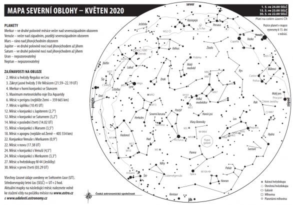 Mapa oblohy s úkazy v květnu 2020 Autor: Aleš Majer