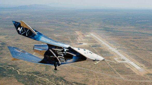 SpaceShipTwo VSS Unity při zkušebním letu 1. května 2020 Autor: Virgin Galactic Holdings, Inc.