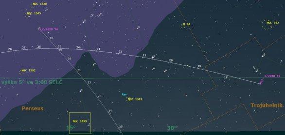 Pozice komety C/2020 F8 (SWAN) ve 3:00 SELČ, v mapě vyznačeny i pozice slábnoucí komety C/2019 Y4 (ATLAS)