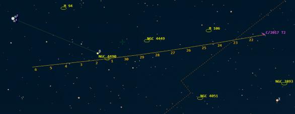 Pozice komety C/2017 T2 (PanSTARRS) v 0:00 SELČ uvedených dnů