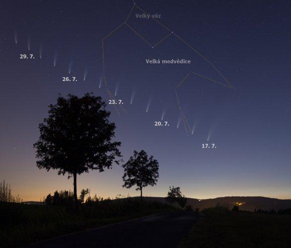 Pozice komety NEOWISE na konci července 2020 Autor: Martin Gembec
