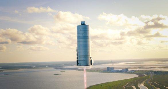 Prototyp Starship SN5 za letu během jeho 150 m vysokého skoku 7. srpna 2020 Autor: Elon Musk/SpaceX