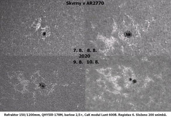 Vývoj skvrny v aktivní oblasti AR2770 den po dni pohledem v čáře vápníku Autor: David Vodecký