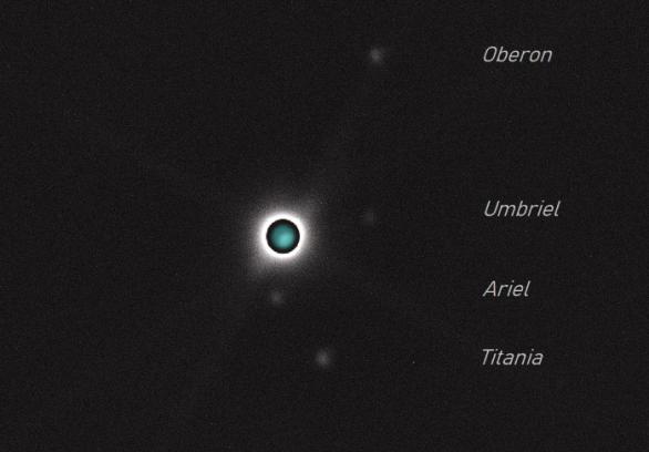 Uran s měsíci. Autor: Petr Valach