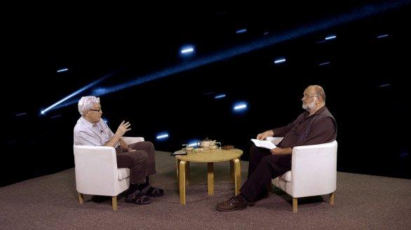 RNDr. Jiří Grygar s moderátorem pořadu Jindřichem Suchánkem v pořadu Hlubinami vesmíru Autor: TV Noe
