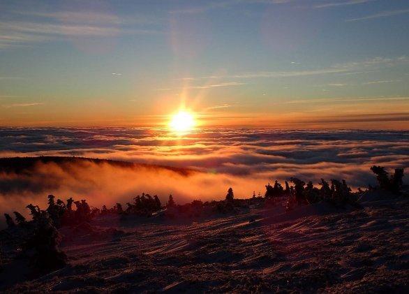 Západ slunce v Krkonoších. Autor: Karel Renc