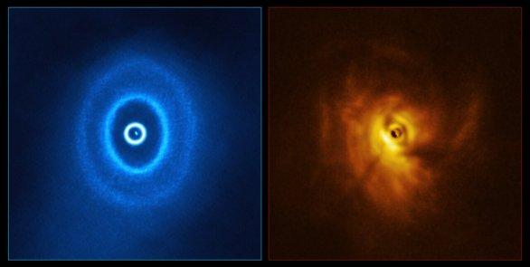 Systém GW Orionis pohledem ALMA a SPHERE (srovnání) Autor: ALMA (ESO/NAOJ/NRAO), ESO/Exeter/Kraus et al.