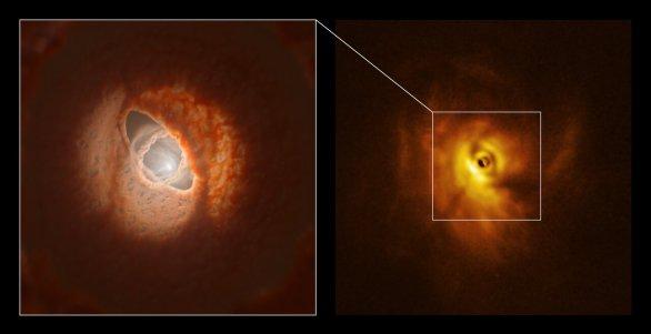 Vnitřní prstenec v systému GW Orionis: model a pozorování přístrojem SPHERE Autor: ESO/L. Calçada, Exeter/Kraus et al.