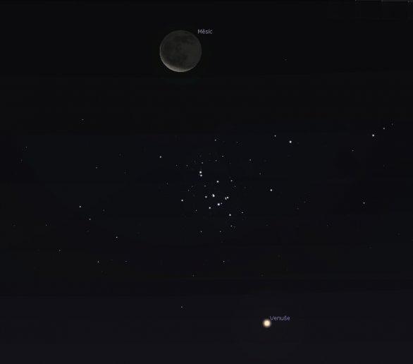 Venuše, Měsíc a Jesličky 14. září 2020 nad ránem. Simulace pomocí programu Stellarium