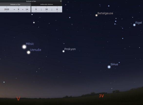 Přehledová mapka ze Stellaria zobrazující pohled na ranní oblohu 14. 9. směrem k jihovýchodu