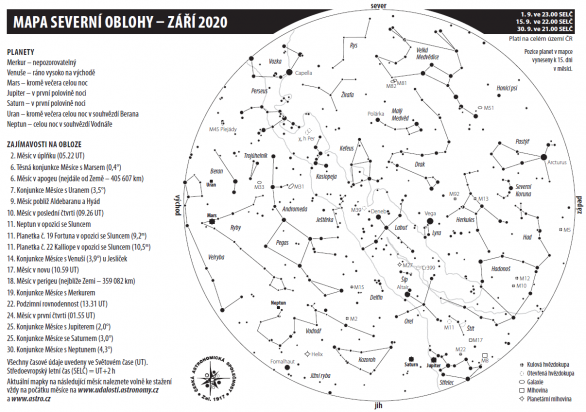 Mapa oblohy s úkazy v září 2020 Autor: Aleš Majer