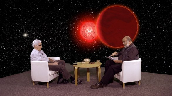 RNDr. Jiří Grygar během rozhovoru s JIndřichem Suchánkem v pořadu Hlubinami vesmíru Autor: TV Noe