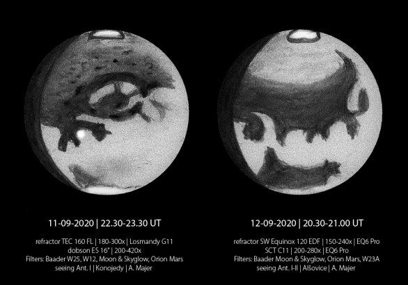 """Kresby planety Mars z 11. a 12. září 2020, patrné jsou nejznámější útvary, jako je """"oko"""" Solis Lacus na obrázku vlevo, nebo Mare Erythreum na druhém obrázku. Autor: Aleš Majer"""
