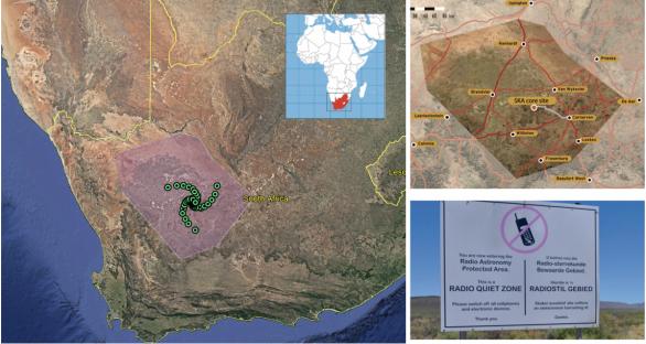 Oblast tzv. Karoo Astronomy Advantage Area (KAAA) byla založena v roce 2007 jako oblast rádiového klidu o rozměrech ~500 x 300 km. Právě zde má působit SKA-Mid telescope Autor: SKA/KAAA