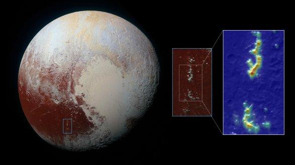 Snímek Pluta pořízený v roce 2015 sondou New Horizons. V detailu vidíme pohoří Pigafetta Montes. Obrázek v nepravých barvách ukazuje koncentrace ztuhlého metanu. Ty jsou nejvyšší ve větších výškách a směrem k úpatím hor koncentrace klesá až k modré barvě. Autor: NASA/JHUAPL/SwRI and Ames Research Center/Daniel Rutter