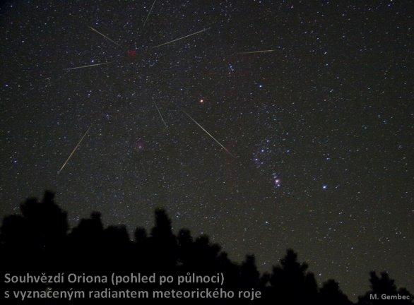 Fotomontáž meteorů do snímku Oriona s vyznačeným radiantem roje Orionid Autor: Martin Gembec