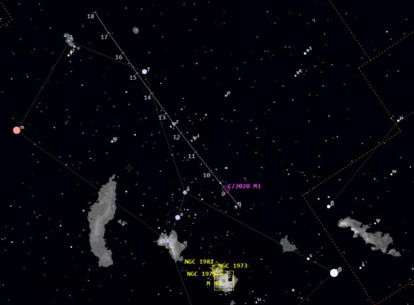 Poloha komety C/2020 M3 (ATLAS) 8. až 18. 11. ve 23:00 SEČ v souhvězdí Oriona