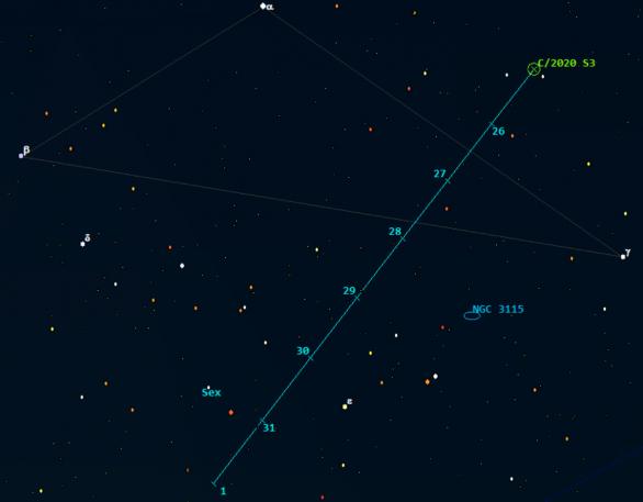 Polohy komety C/2020 S3 (Erasmus) v 5:00 SEČ