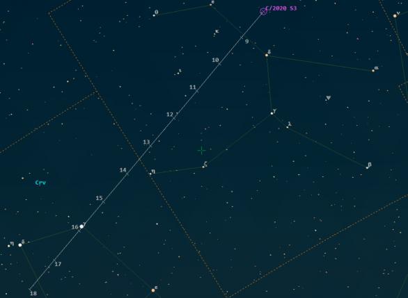 Pozice komety C/2020 S3 (Erasmus) ve 46. týdnu 2020 kolem 5. hodiny SEČ.