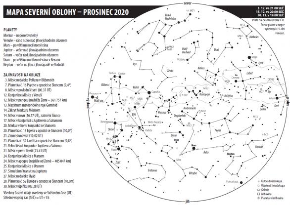 Mapa oblohy s úkazy v prosinci 2020 Autor: Aleš Majer