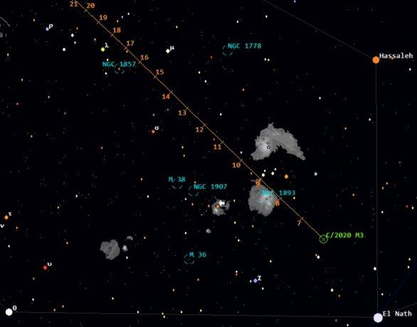 Polohy komety C/2020 M3 (ATLAS) ve 21:00 SEČ od 6. do 21. prosince 2020
