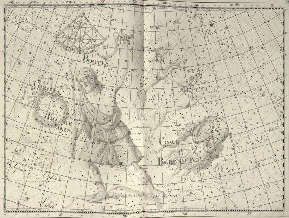 Souhvězdí zedního kvadrantu na mapě z atlasu Uranographia Johana E. Bodeho z roku 1801