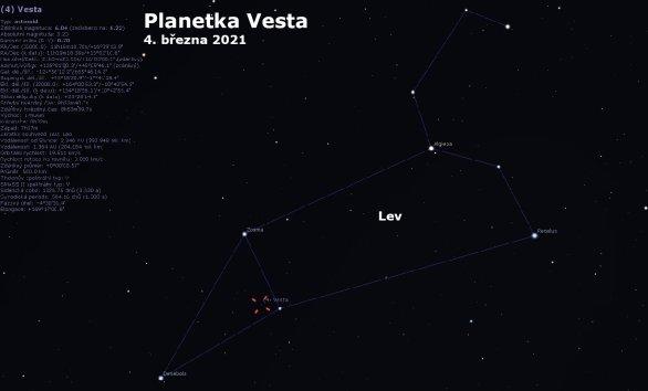 Poloha planetky Vesta v souhvězdí Lva při opozici 2021 Autor: Astro.cz/Stellarium/Petr Sobotka